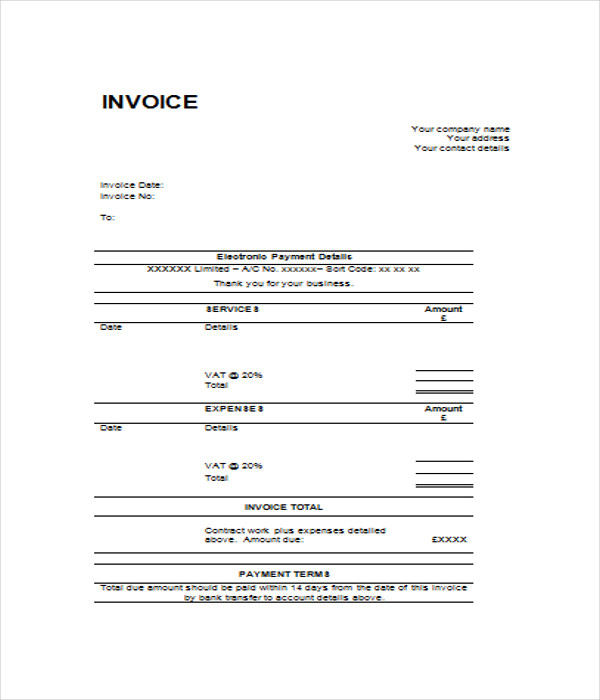 blank invoices template