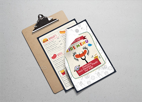 Elegant Kids Food Menu Template