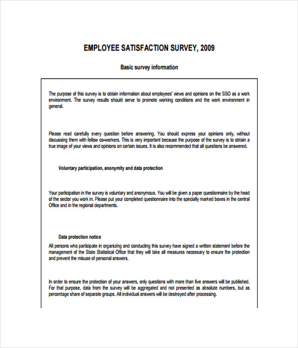 17 survey templates free word pdf documents download for Employee satisfaction survey template word