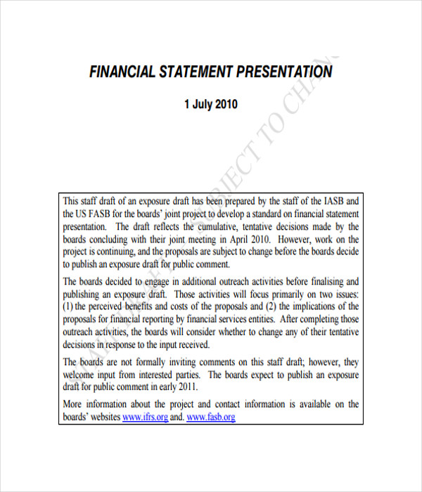 Financial Presentation Template