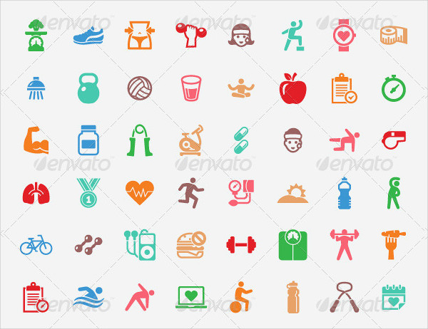 Colorful Fitness Icons Collection