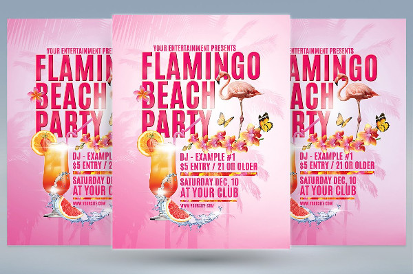 Flamingo Beach Party Flyers