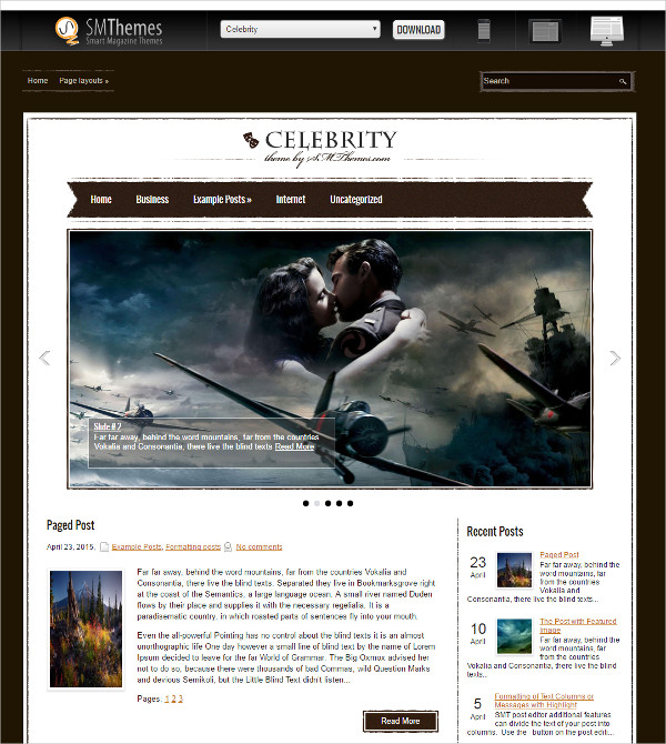 Free Film Celebrity WordPress Theme