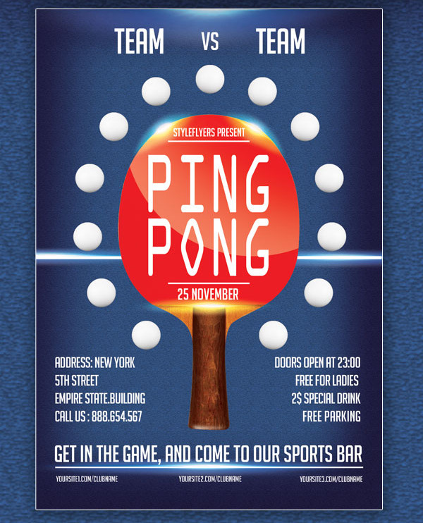 Free PSD Ping Pong Flyer Template
