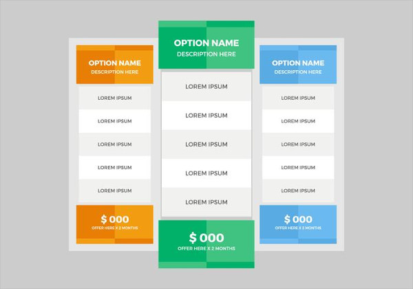 Free Pricing Table Download