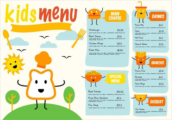 Free Download Kids Menu Vector Template