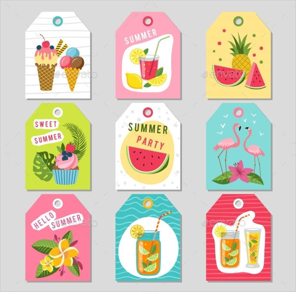 Gift Tags with Summer Tropical Decoration