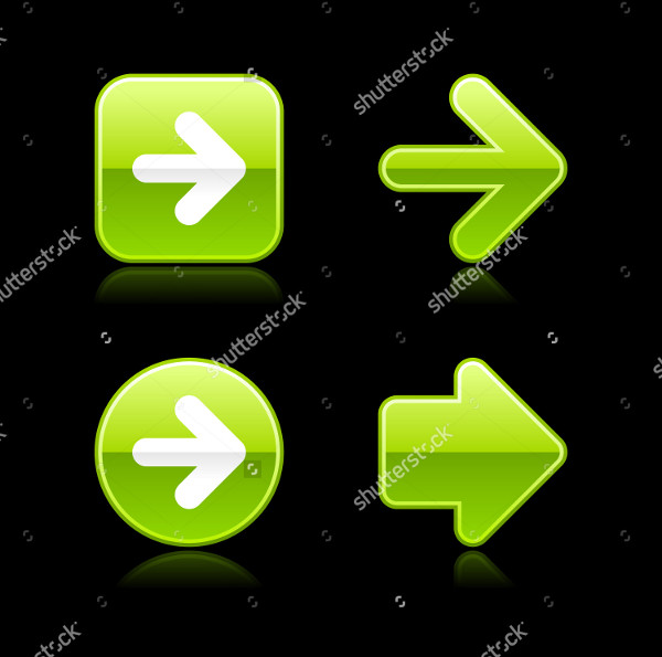 Metal Glossy Green Arrow Web Buttons