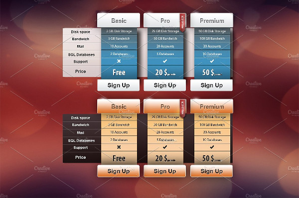 Clean & Elegant Pricing Table Template