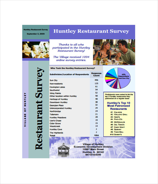 Restaurant Survey Template Huntley Restaurant Survey Template