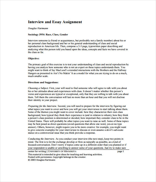 Interview Essay Template