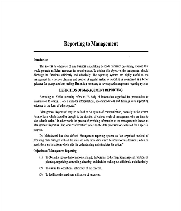 Management Report Templates