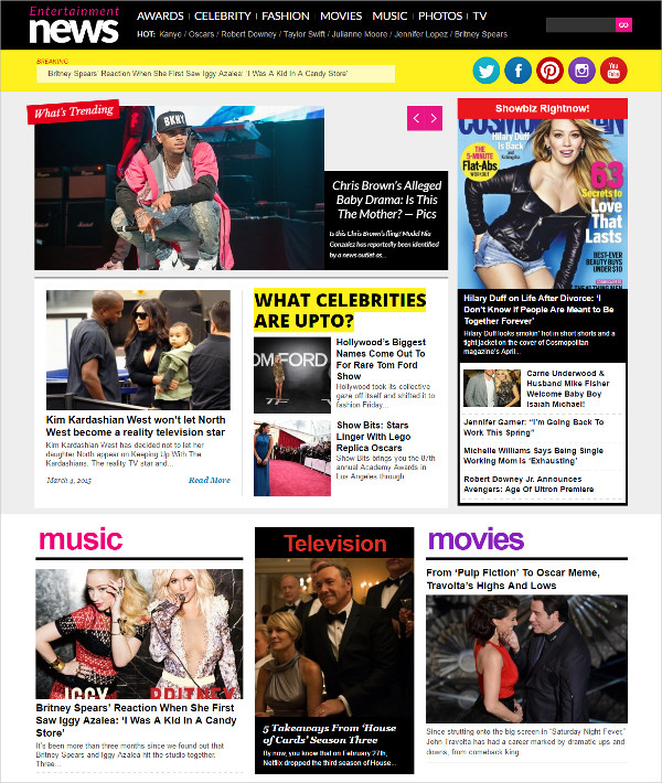 Music & Celebrity Entertainment News WP Theme $59