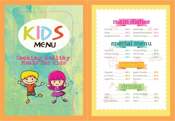 Free Kids Menu Vector Illustration With Colorful Design  Free Kids Menu Templates