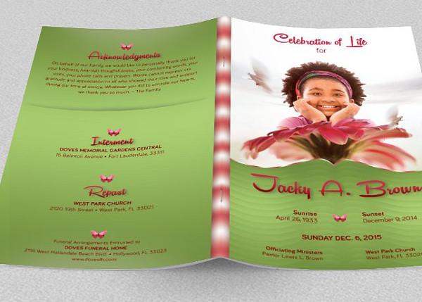 12  child funeral program templates