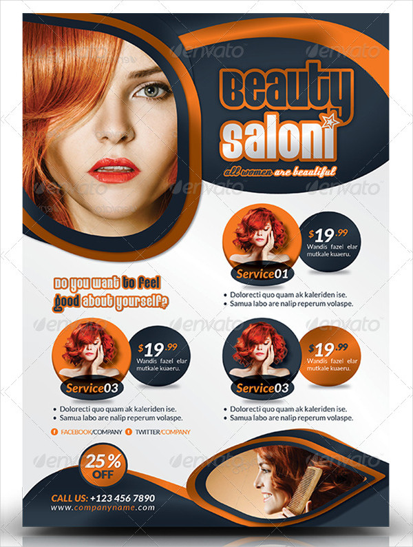 Ready To Print Beauty Salon Flyer Template