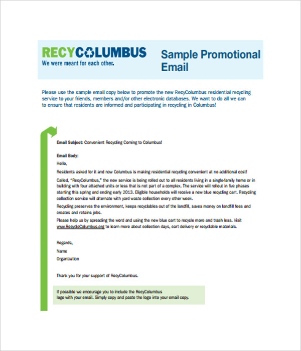 Email templates 10 free word pdf documents download for Free promotional email templates