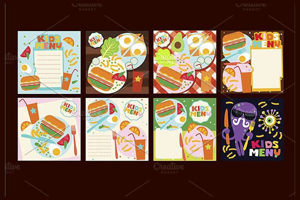 Set of Kids Menu Design Templates