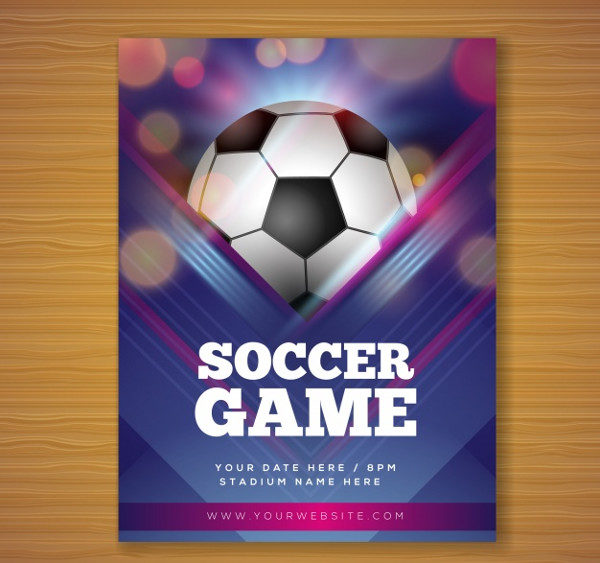 Soccer Game Flyer in Realistic Style Free Download