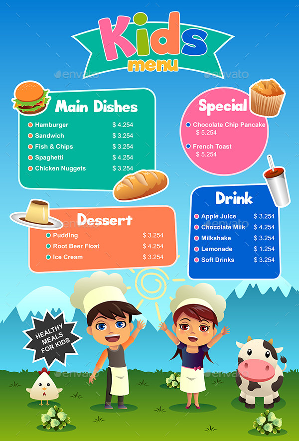 Special Kids Food Menu Template