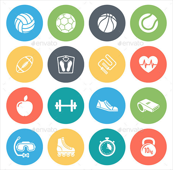 Sports & Fitness Round Icons