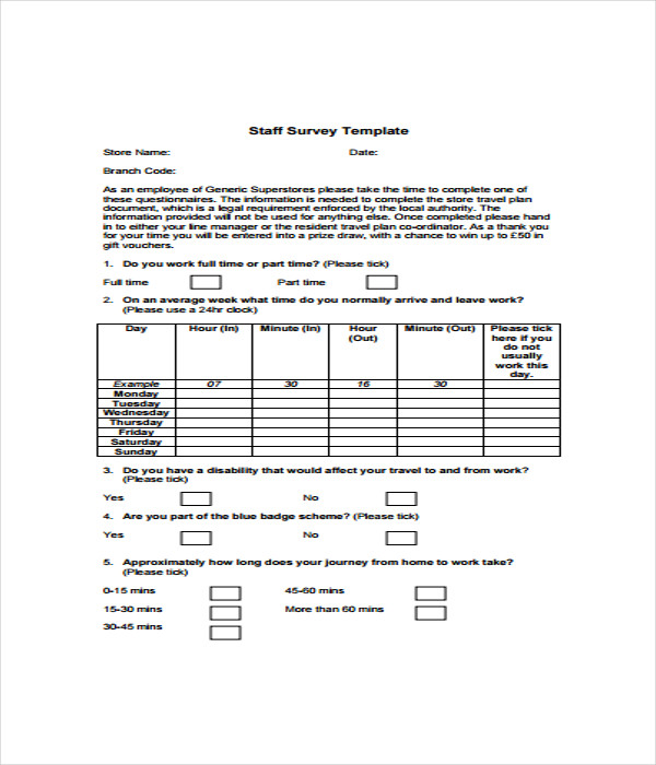 Survey Templates   Word Pdf Documents Download