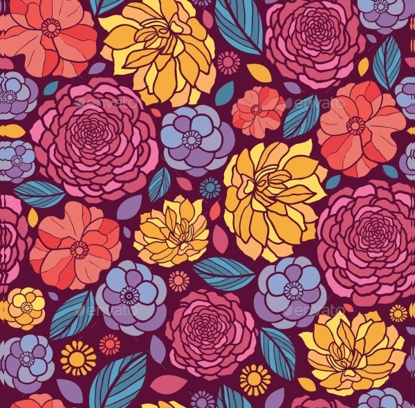 Abstract Summer Flowers Seamless Pattern