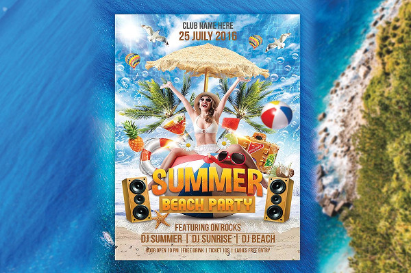 25 Beach Party Flyer Templates Free Premium Download