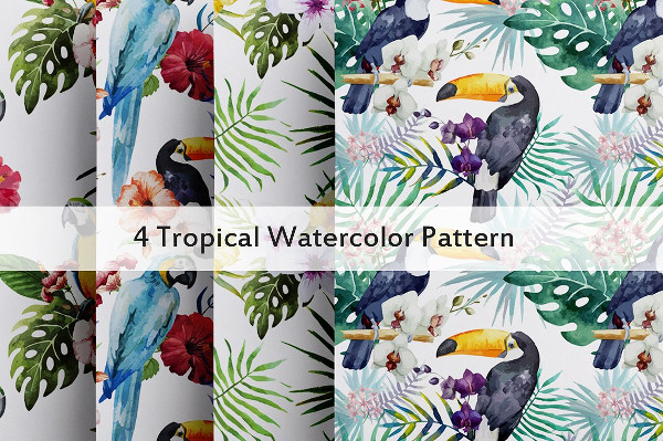 4 Tropical Watercolor Patterns
