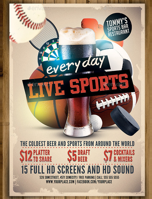 Live Sports Bar Flyer Template