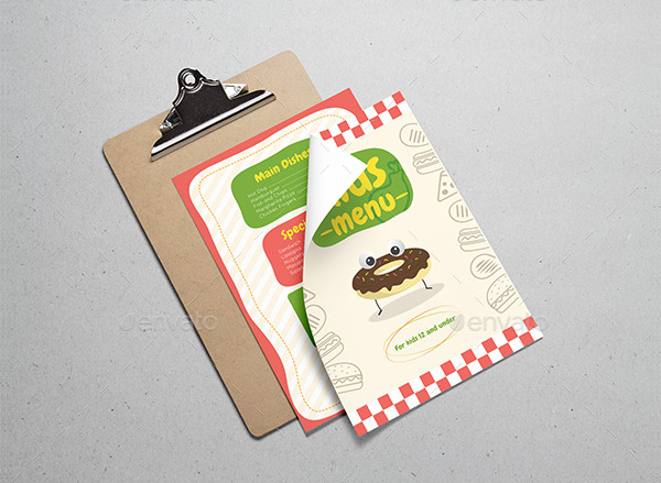 Unique Kids Restaurant Menu Template