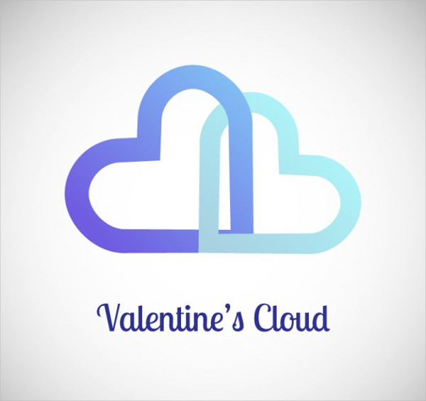 Valentine's Clouds Logo Template Free