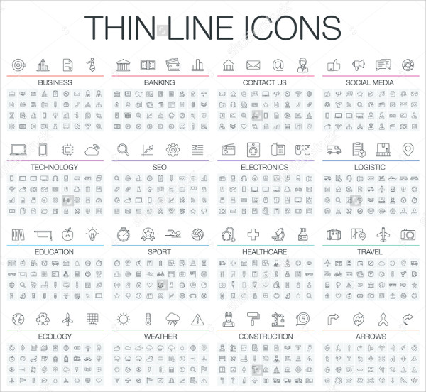 Vector Illustration Thin Line Icons