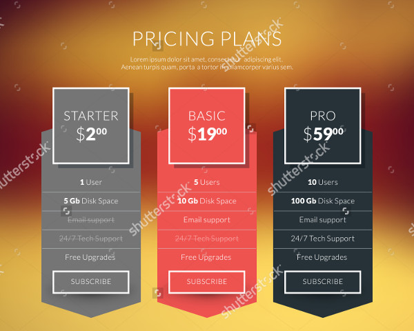 Vector Pricing Tables in Flat Design Style for Websites