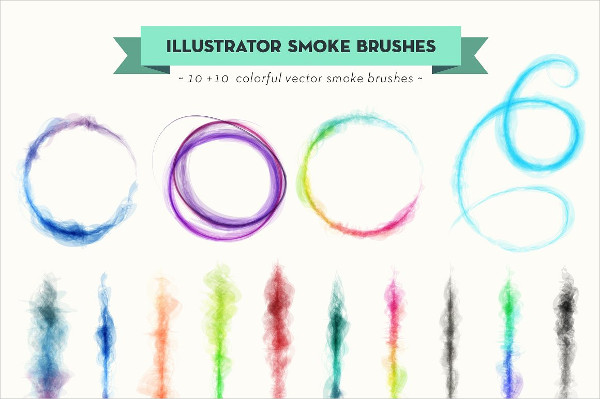 Colorful Vector Smoke Brush Set