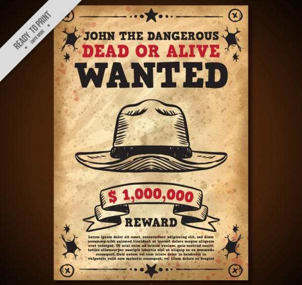 Wanted Poster with Hat in Vintage Style Free
