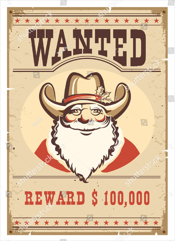 Wanted Santa Claus Poster Template