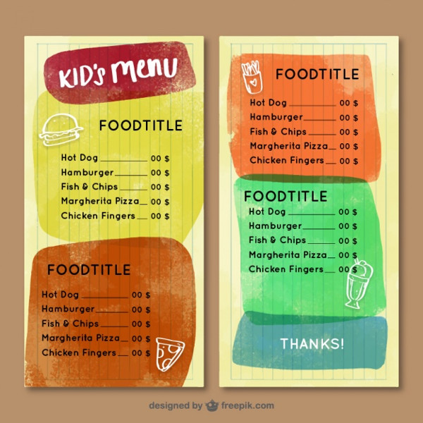 Watercolor Kid's Menu With Colorful Abstract Shapes