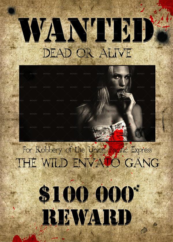 Wild West Style Wanted Flyer or Poster