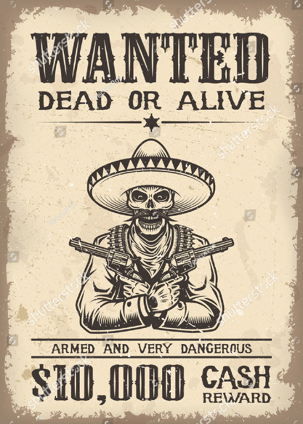 Wild West Wanted Poster with Old Paper Background
