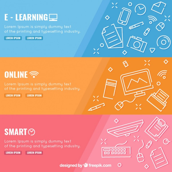 Set of 3 Digital Education Banners Free
