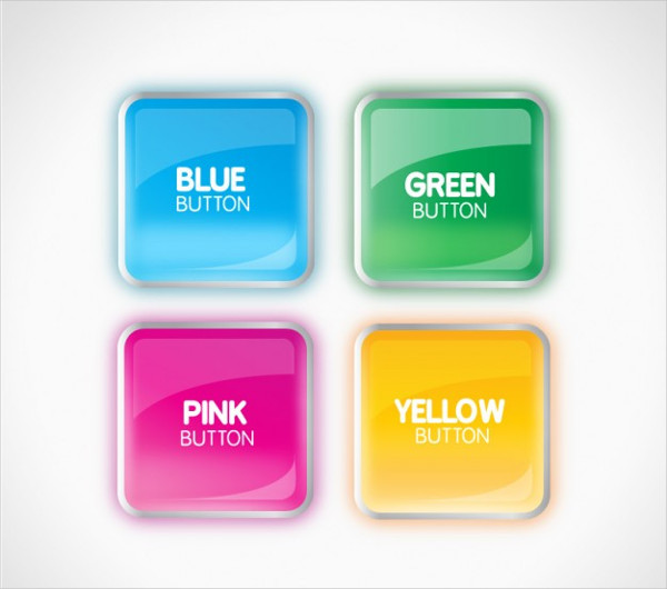 3D Colorful Glossy Buttons Free Vector