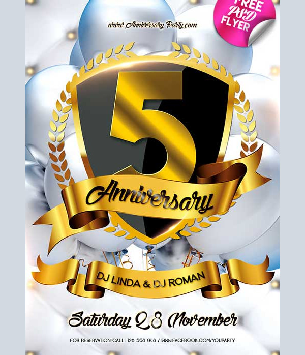 Anniversary Party Free PSD Flyer Template