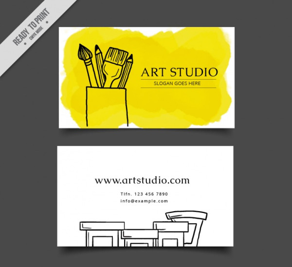 Art Studio Business Card Template Free Vector