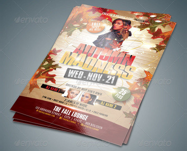 Print Ready Autumn Madness Flyer Template
