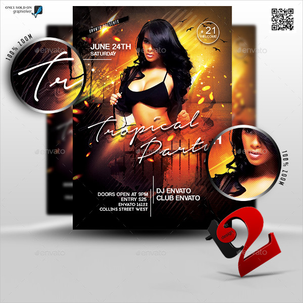 Designed Tropical Party Flyer Template