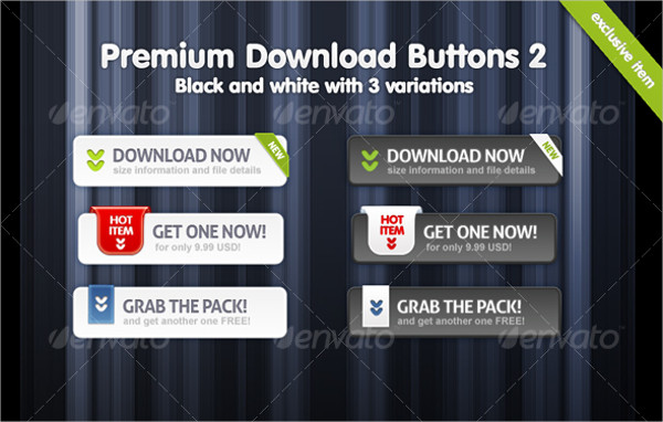 Premium Black & White Buttons of Download
