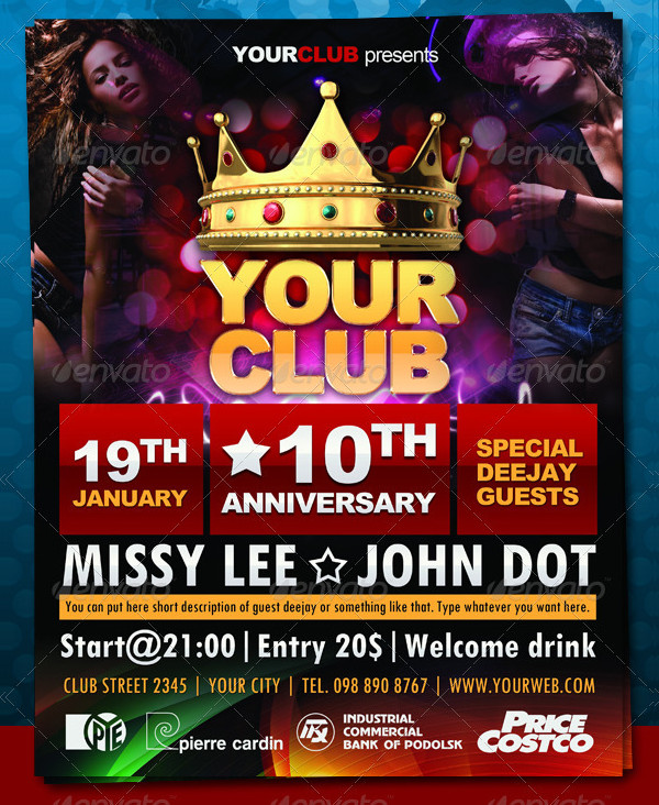 Club Anniversary PSD Flyer Template