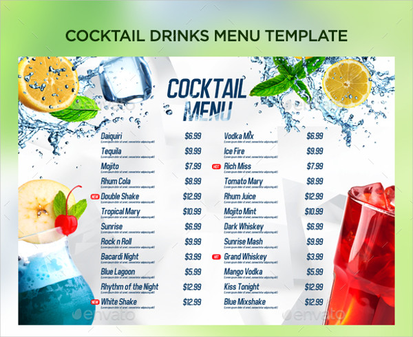 Drinks Menu Template. Cool Cocktail Menu Template Cocktail Menu