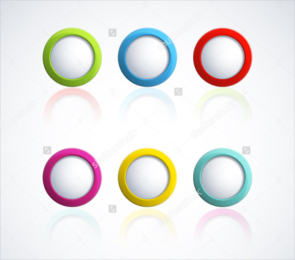 Colorful 3D Buttons Vector Illustration